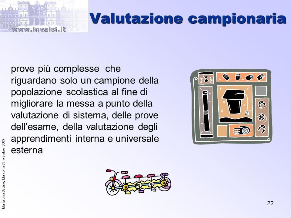 Marialuisa Sabino, Marconia 23 nvembre 2005 22 Valutazione campionaria prove più complesse che riguardano solo un campione della popolazione scolastic