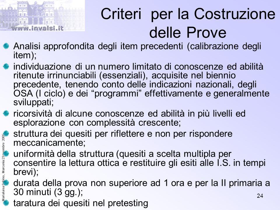 Marialuisa Sabino, Marconia 23 nvembre 2005 24 Criteri per la Costruzione delle Prove Analisi approfondita degli item precedenti (calibrazione degli i