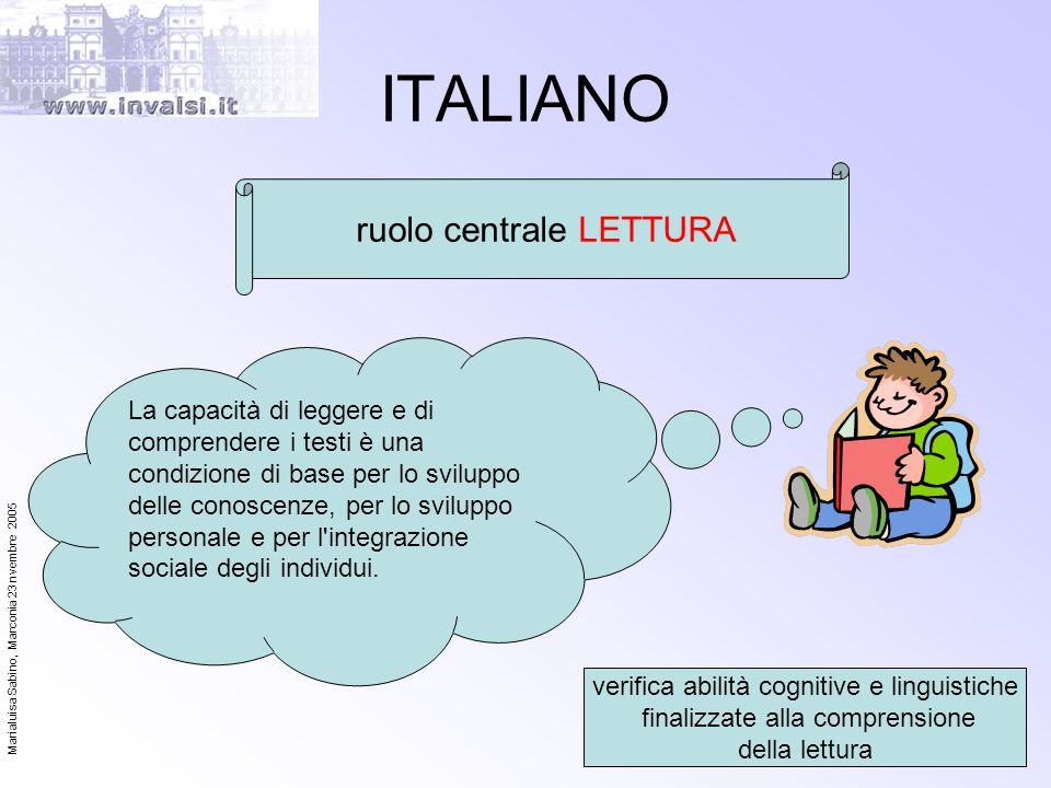 Marialuisa Sabino, Marconia 23 nvembre 2005 27 ITALIANO ruolo centrale LETTURA verifica abilità cognitive e linguistiche finalizzate alla comprensione