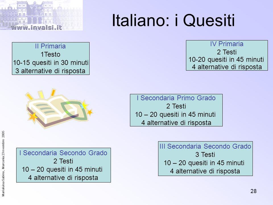 Marialuisa Sabino, Marconia 23 nvembre 2005 28 Italiano: i Quesiti II Primaria 1Testo 10-15 quesiti in 30 minuti 3 alternative di risposta I Secondari