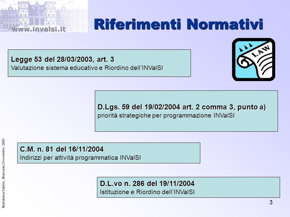Marialuisa Sabino, Marconia 23 nvembre 2005 4 Attività INValSI Concorrono al raggiungimento degli obiettivi di Lisbona OBIETTIVO 1: MIGLIORARE LA QUALITA E LEFFICACIA DEI SISTEMI DI ISTRUZIONE E FORMAZIONE NELLUNIONE EUROPEA Incentivare le candidature a livello di studi scientifici e tecnici Migliorare i sistemi di garanzia della qualità OBIETTIVO 3: APRIRE AL MONDO ESTERNO I SISTEMI DI ISTRUZIONE E FORMAZIONE Rafforzare la cooperazione a livello europeo Promozione della cultura della Valutazione