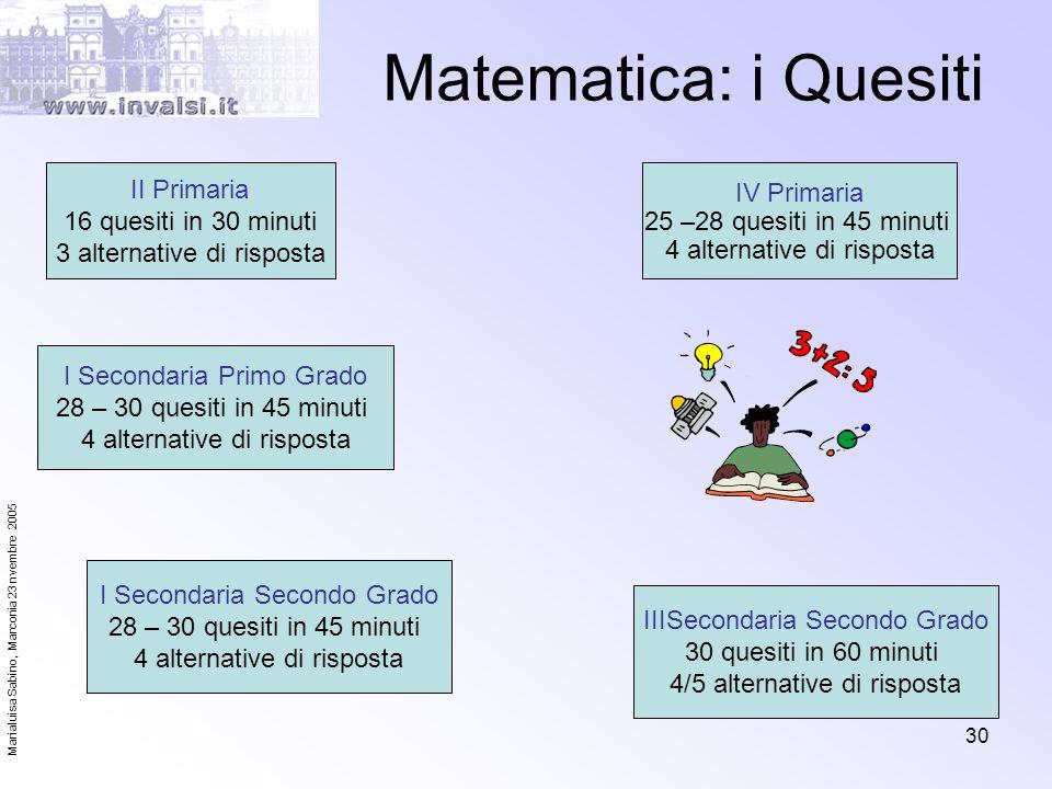 Marialuisa Sabino, Marconia 23 nvembre 2005 30 Matematica: i Quesiti II Primaria 16 quesiti in 30 minuti 3 alternative di risposta I Secondaria Second