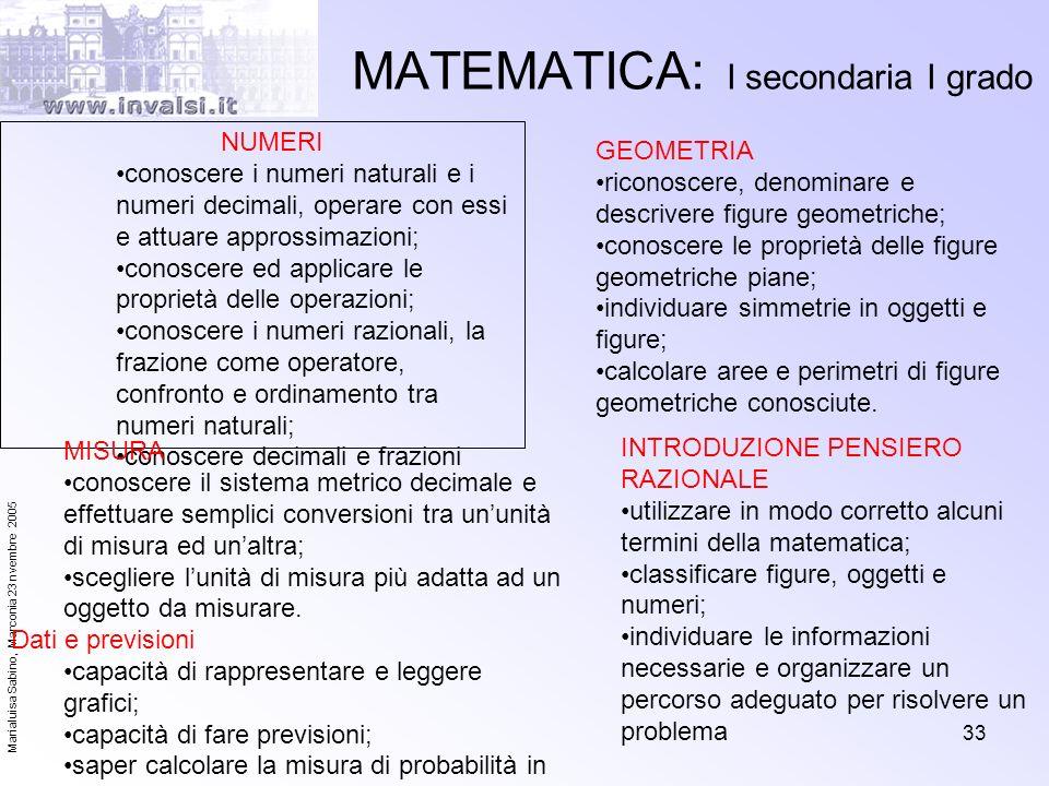 Marialuisa Sabino, Marconia 23 nvembre 2005 33 MATEMATICA: I secondaria I grado NUMERI conoscere i numeri naturali e i numeri decimali, operare con es