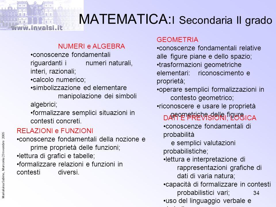 Marialuisa Sabino, Marconia 23 nvembre 2005 34 MATEMATICA: I Secondaria II grado NUMERI e ALGEBRA conoscenze fondamentali riguardanti i numeri natural