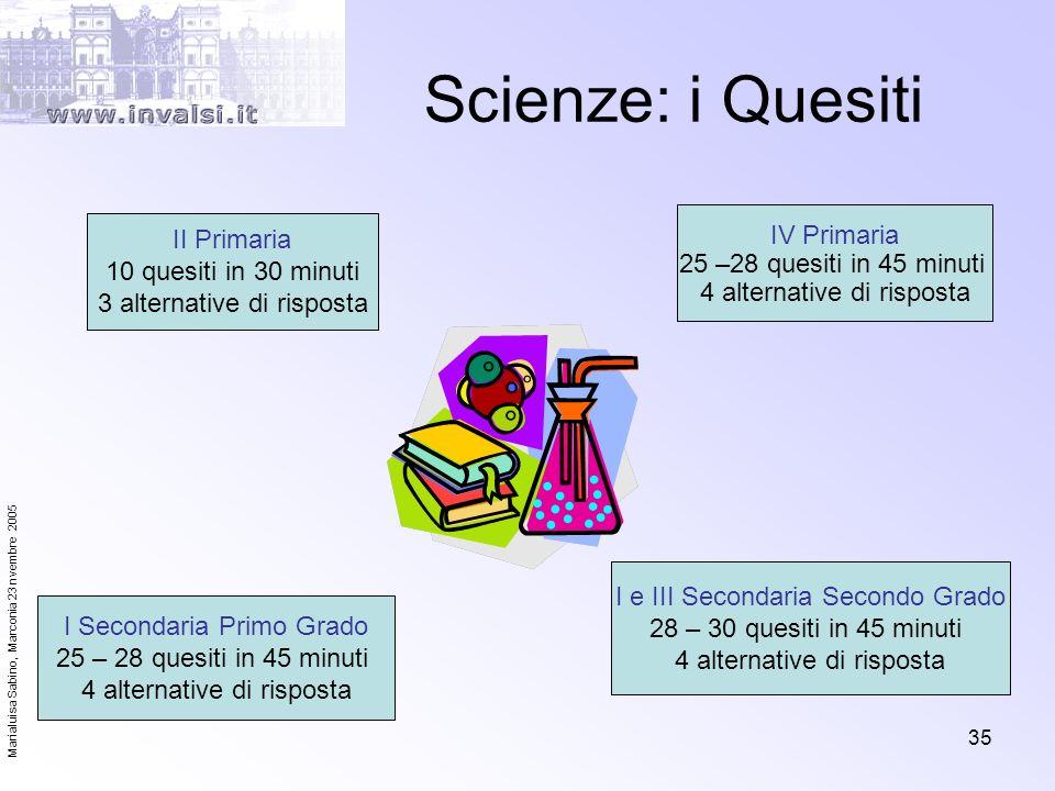 Marialuisa Sabino, Marconia 23 nvembre 2005 35 Scienze: i Quesiti II Primaria 10 quesiti in 30 minuti 3 alternative di risposta I e III Secondaria Sec