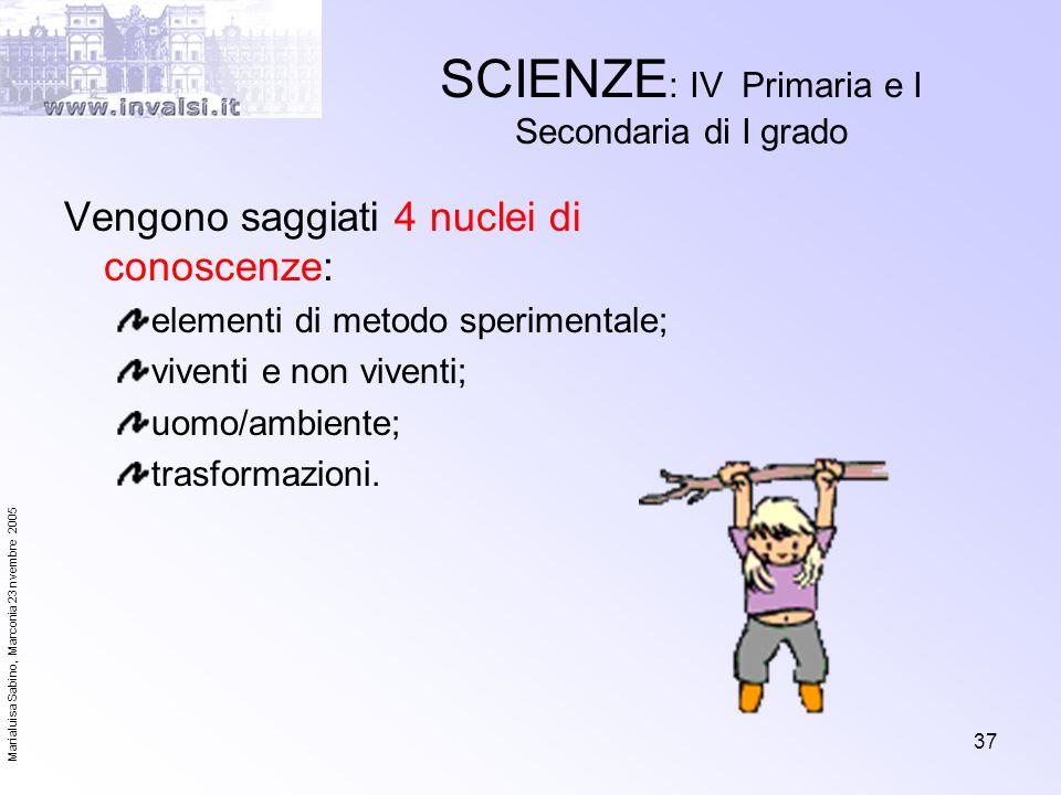 Marialuisa Sabino, Marconia 23 nvembre 2005 37 SCIENZE : IV Primaria e I Secondaria di I grado Vengono saggiati 4 nuclei di conoscenze: elementi di me