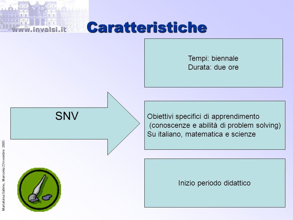 Marialuisa Sabino, Marconia 23 nvembre 2005 9 Caratteristiche SNV Tempi: biennale Durata: due ore Inizio periodo didattico Obiettivi specifici di appr