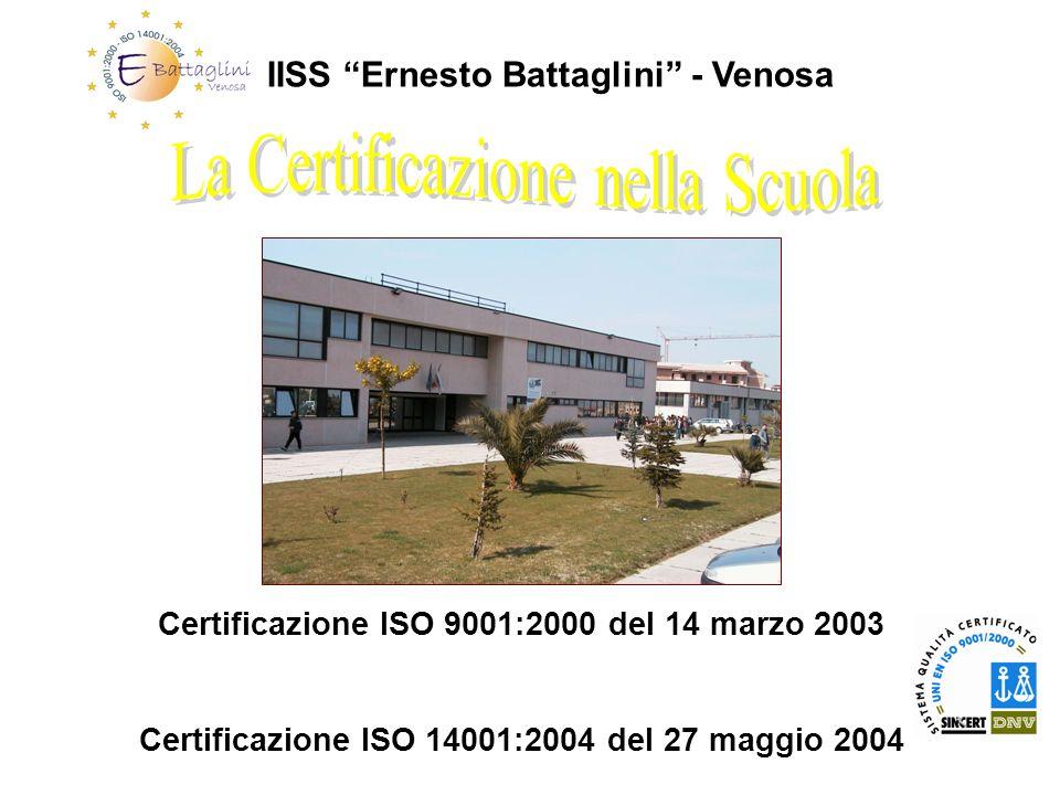 IISS Ernesto Battaglini - Venosa Certificazione ISO 9001:2000 del 14 marzo 2003 Certificazione ISO 14001:2004 del 27 maggio 2004