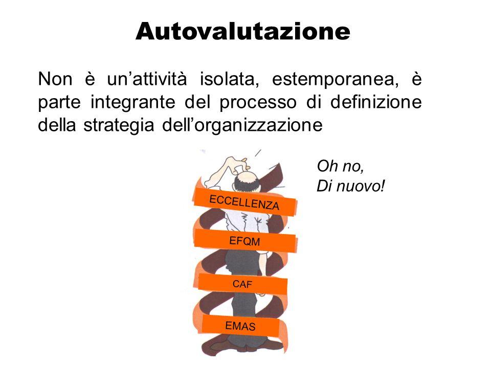 Autovalutazione Non è unattività isolata, estemporanea, è parte integrante del processo di definizione della strategia dellorganizzazione CAF EMAS ECCELLENZA EFQM Oh no, Di nuovo!