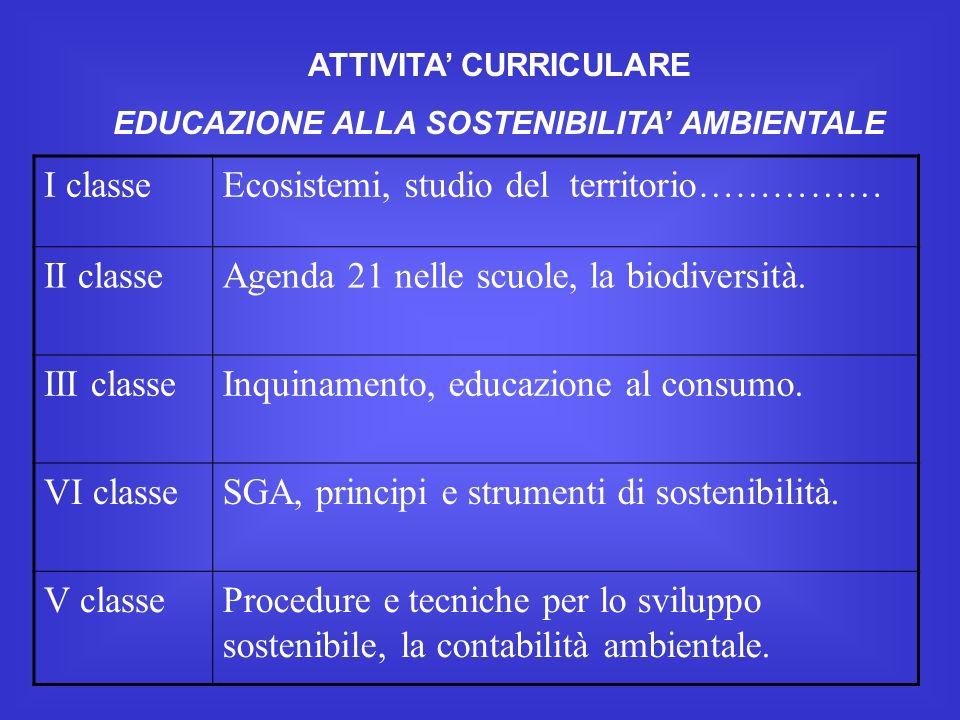 ATTIVITA CURRICULARE EDUCAZIONE ALLA SOSTENIBILITA AMBIENTALE I classeEcosistemi, studio del territorio…………… II classeAgenda 21 nelle scuole, la biodiversità.