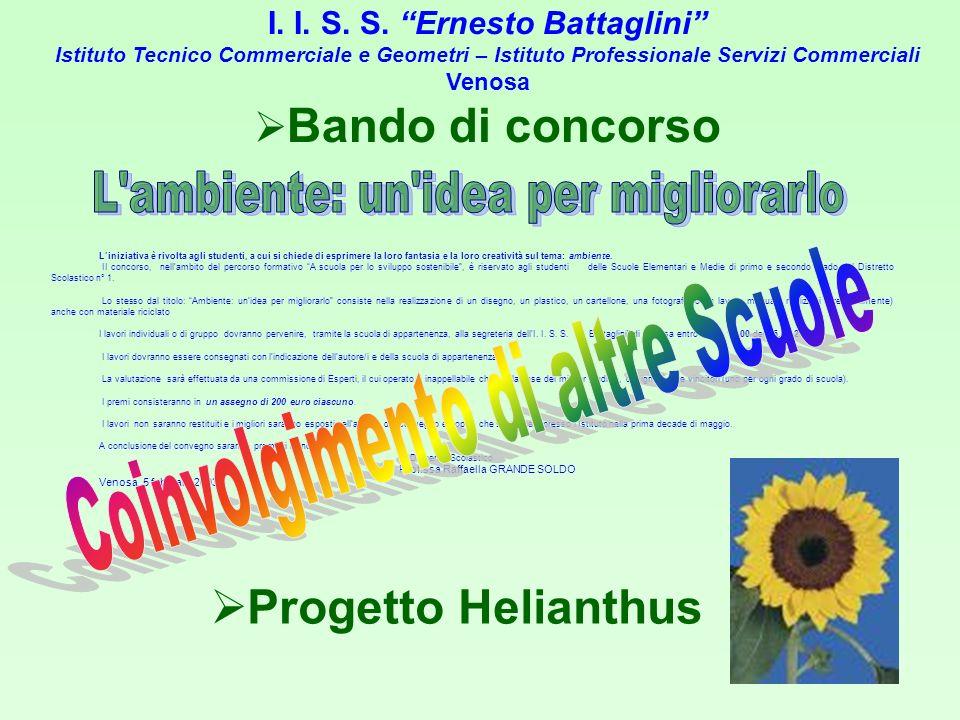 I. I. S. S. Ernesto Battaglini Istituto Tecnico Commerciale e Geometri – Istituto Professionale Servizi Commerciali Venosa Bando di concorso Liniziati