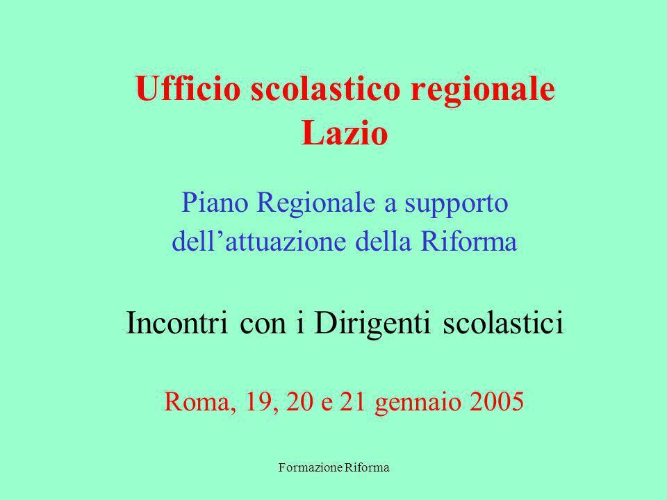 Formazione Riforma Ufficio scolastico regionale Lazio Piano Regionale a supporto dellattuazione della Riforma Incontri con i Dirigenti scolastici Roma, 19, 20 e 21 gennaio 2005