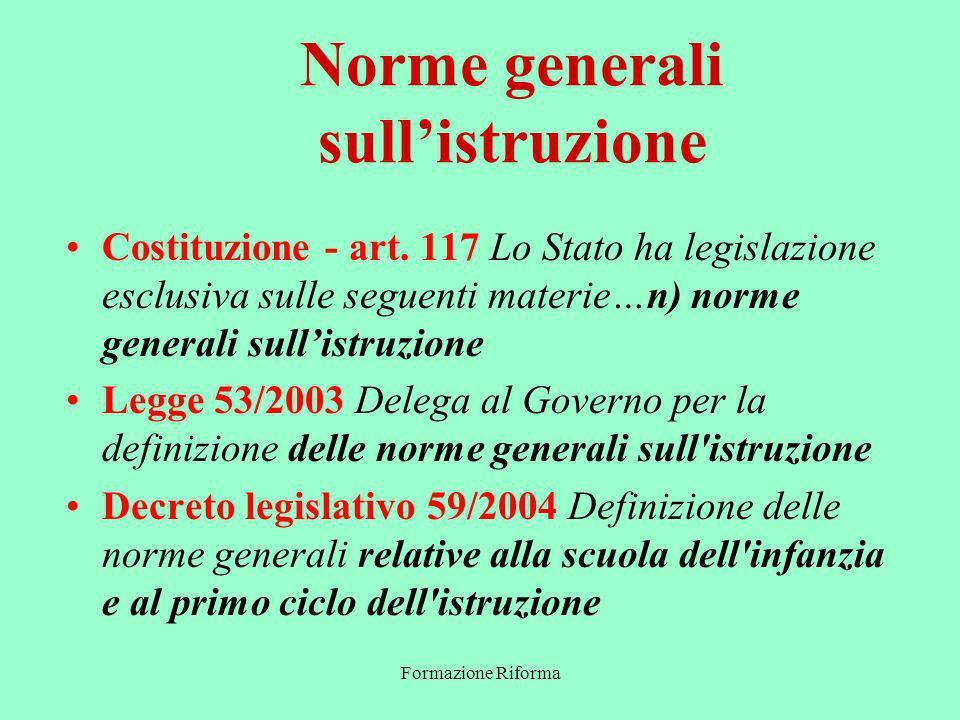 Formazione Riforma Norme generali sullistruzione Costituzione - art.