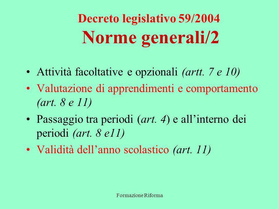 Formazione Riforma Decreto legislativo 59/2004 Norme generali/2 Attività facoltative e opzionali (artt.