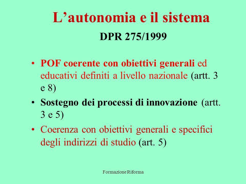 Formazione Riforma Lautonomia e il sistema DPR 275/1999 POF coerente con obiettivi generali ed educativi definiti a livello nazionale (artt.
