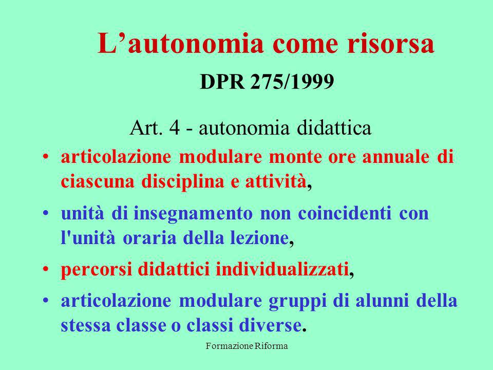 Formazione Riforma Lautonomia come risorsa DPR 275/1999 Art.
