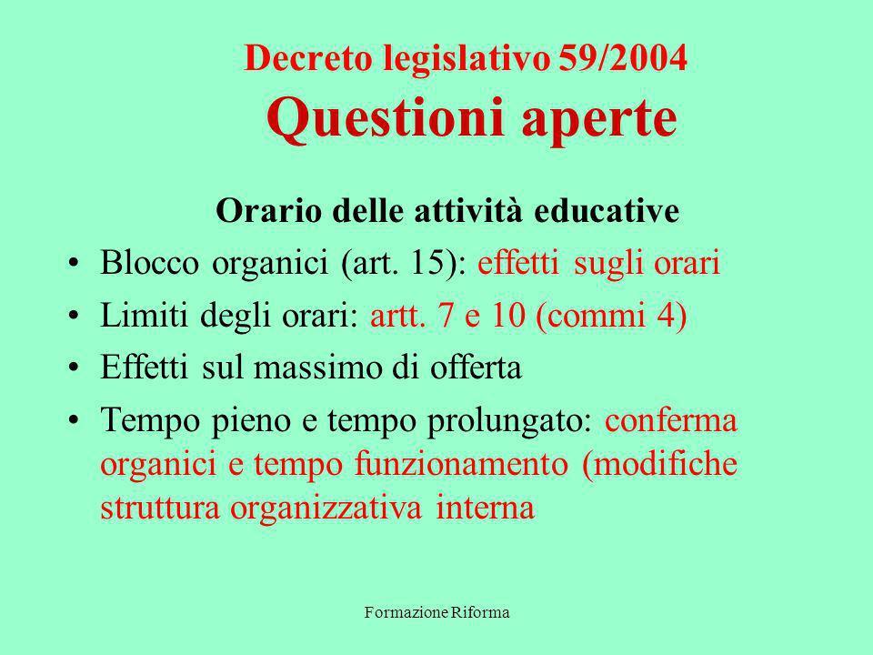 Formazione Riforma Decreto legislativo 59/2004 Questioni aperte Orario delle attività educative Blocco organici (art.