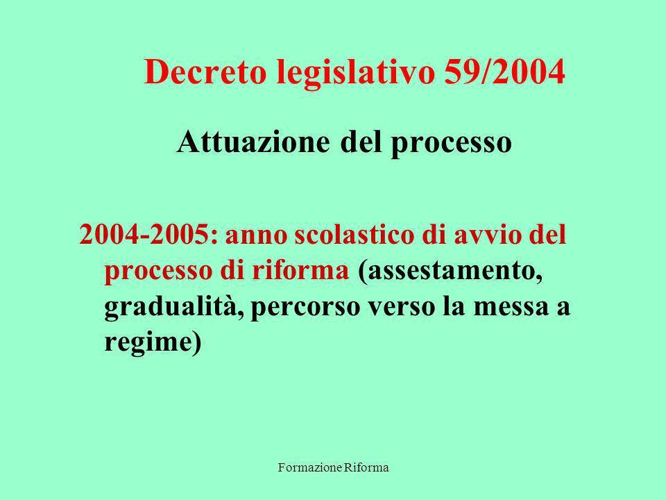 Formazione Riforma Decreto legislativo 59/2004 Attuazione del processo 2004-2005: anno scolastico di avvio del processo di riforma (assestamento, gradualità, percorso verso la messa a regime)