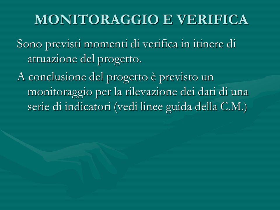 MONITORAGGIO E VERIFICA Sono previsti momenti di verifica in itinere di attuazione del progetto.