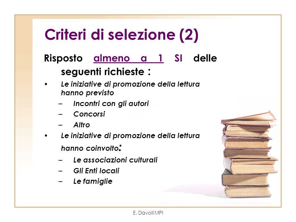 E. Davoli MPI Criteri di selezione (2) Risposto almeno a 1 SI delle seguenti richieste : Le iniziative di promozione della lettura hanno previsto – In