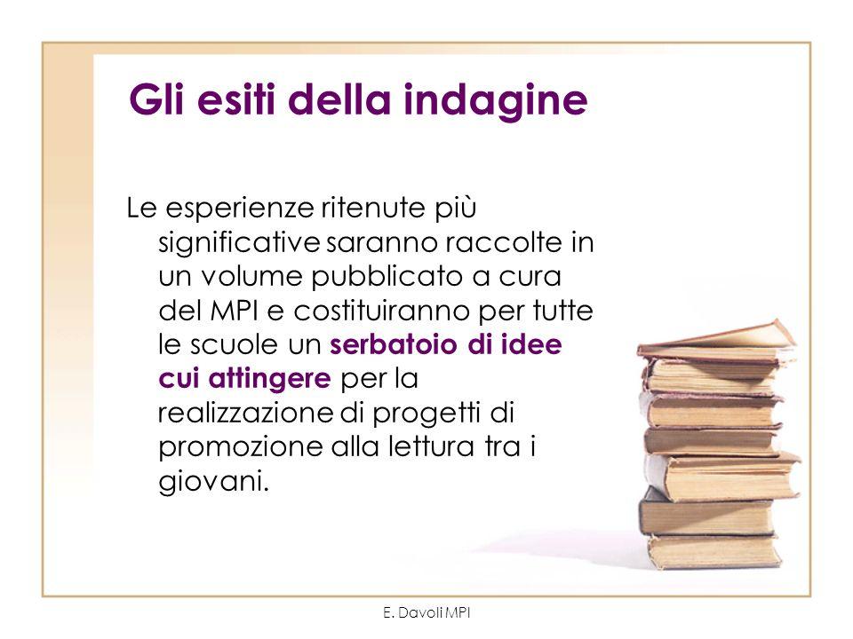 E. Davoli MPI Gli esiti della indagine Le esperienze ritenute più significative saranno raccolte in un volume pubblicato a cura del MPI e costituirann