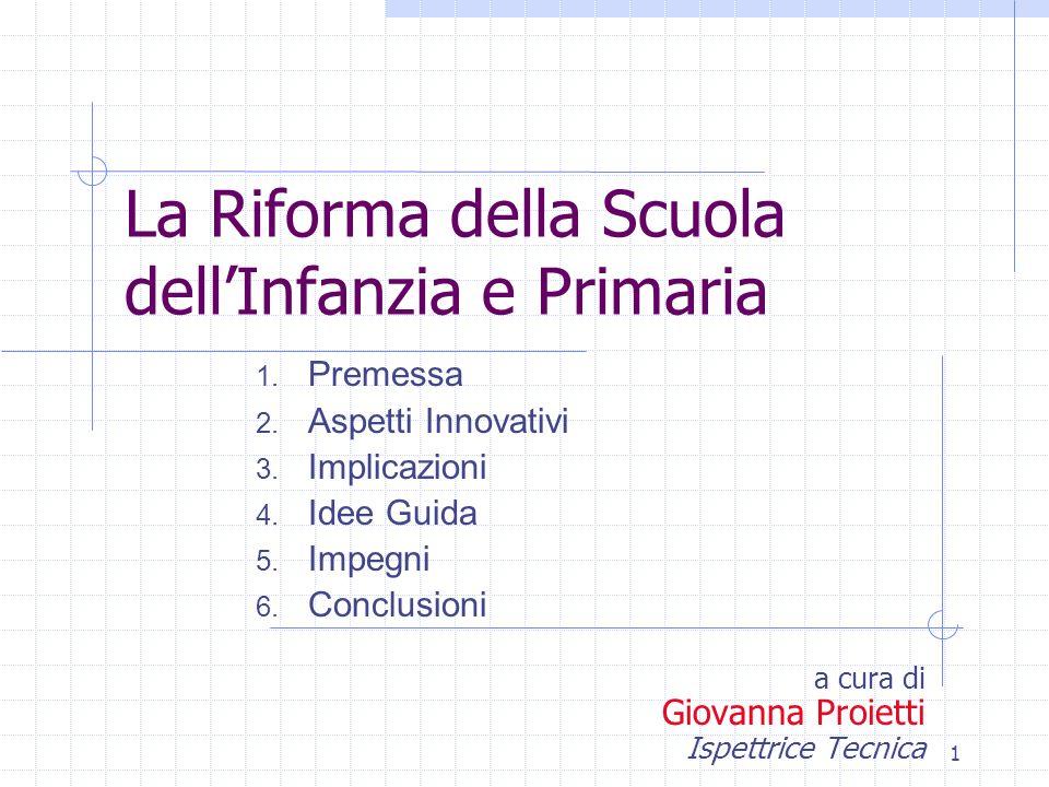 1 La Riforma della Scuola dellInfanzia e Primaria a cura di Giovanna Proietti Ispettrice Tecnica 1.