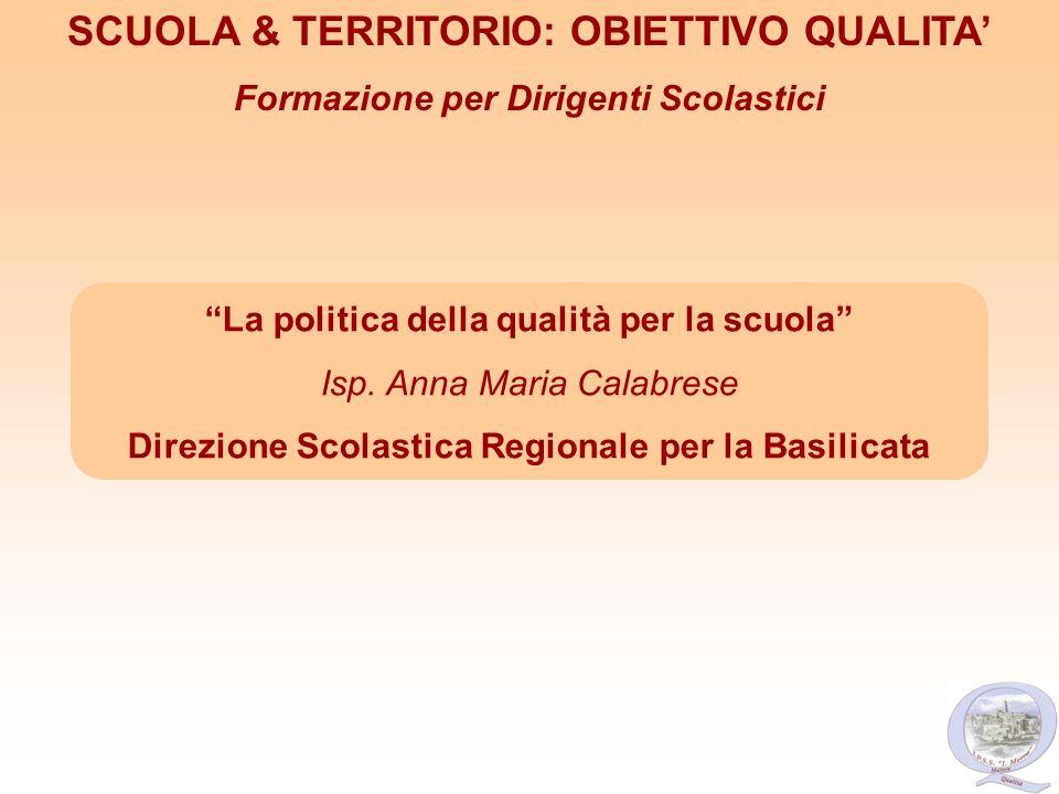 La politica della qualità per la scuola Isp. Anna Maria Calabrese Direzione Scolastica Regionale per la Basilicata SCUOLA & TERRITORIO: OBIETTIVO QUAL
