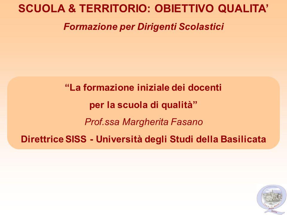 La formazione iniziale dei docenti per la scuola di qualità Prof.ssa Margherita Fasano Direttrice SISS - Università degli Studi della Basilicata SCUOL