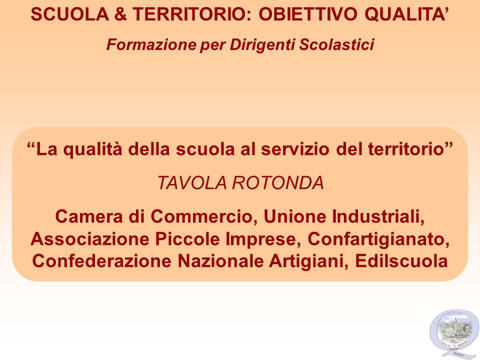 La qualità della scuola al servizio del territorio TAVOLA ROTONDA Camera di Commercio, Unione Industriali, Associazione Piccole Imprese, Confartigiana