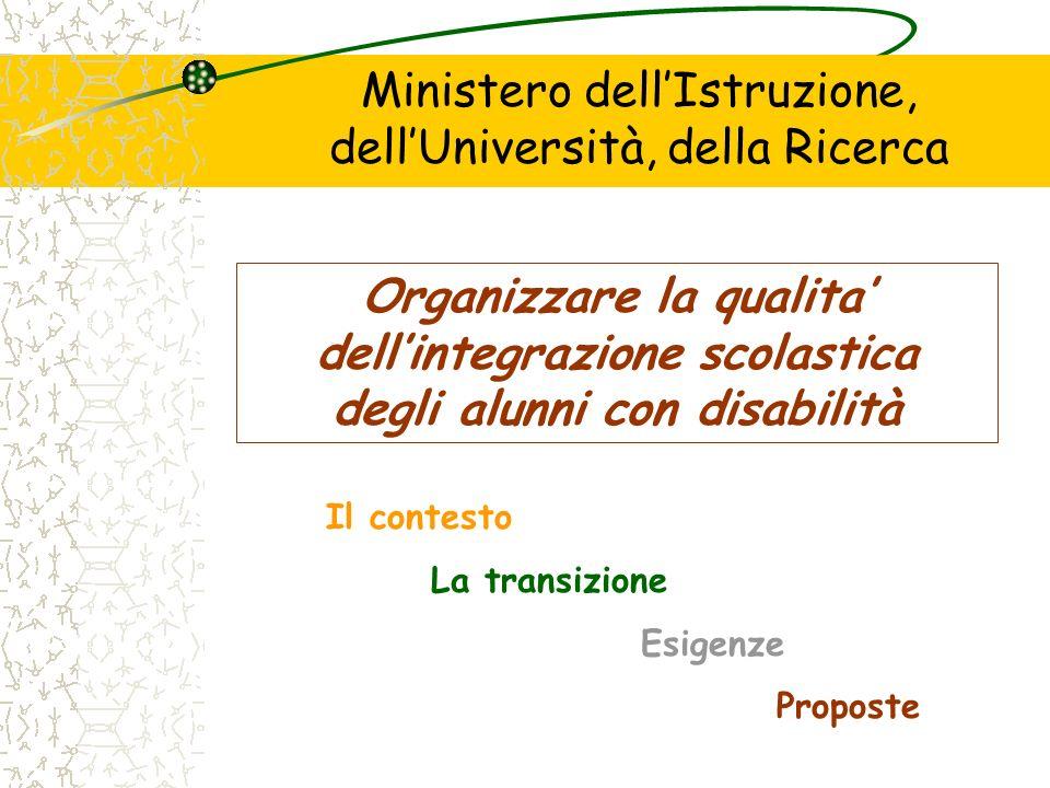 Ministero dellIstruzione, dellUniversità, della Ricerca Organizzare la qualita dellintegrazione scolastica degli alunni con disabilità Il contesto La transizione Esigenze Proposte