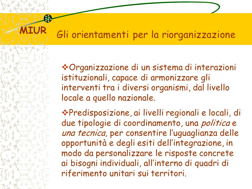 Gli orientamenti per la riorganizzazione Organizzazione di un sistema di interazioni istituzionali, capace di armonizzare gli interventi tra i diversi organismi, dal livello locale a quello nazionale.