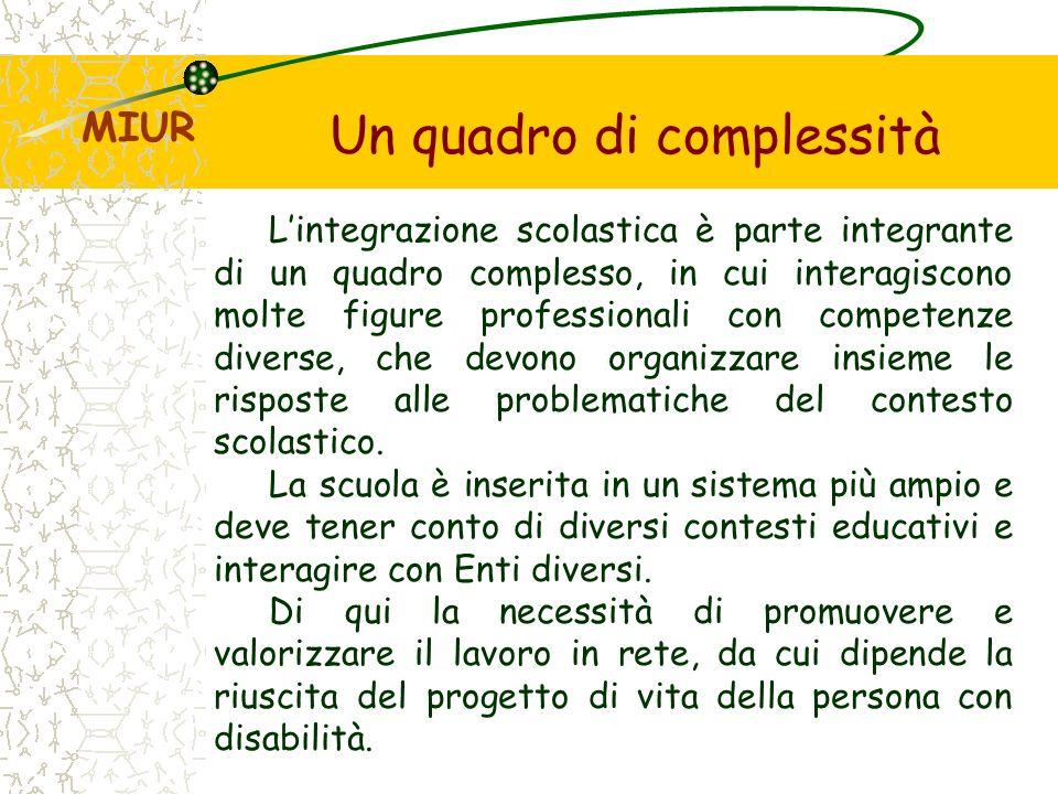 Un quadro di complessità Lintegrazione scolastica è parte integrante di un quadro complesso, in cui interagiscono molte figure professionali con competenze diverse, che devono organizzare insieme le risposte alle problematiche del contesto scolastico.