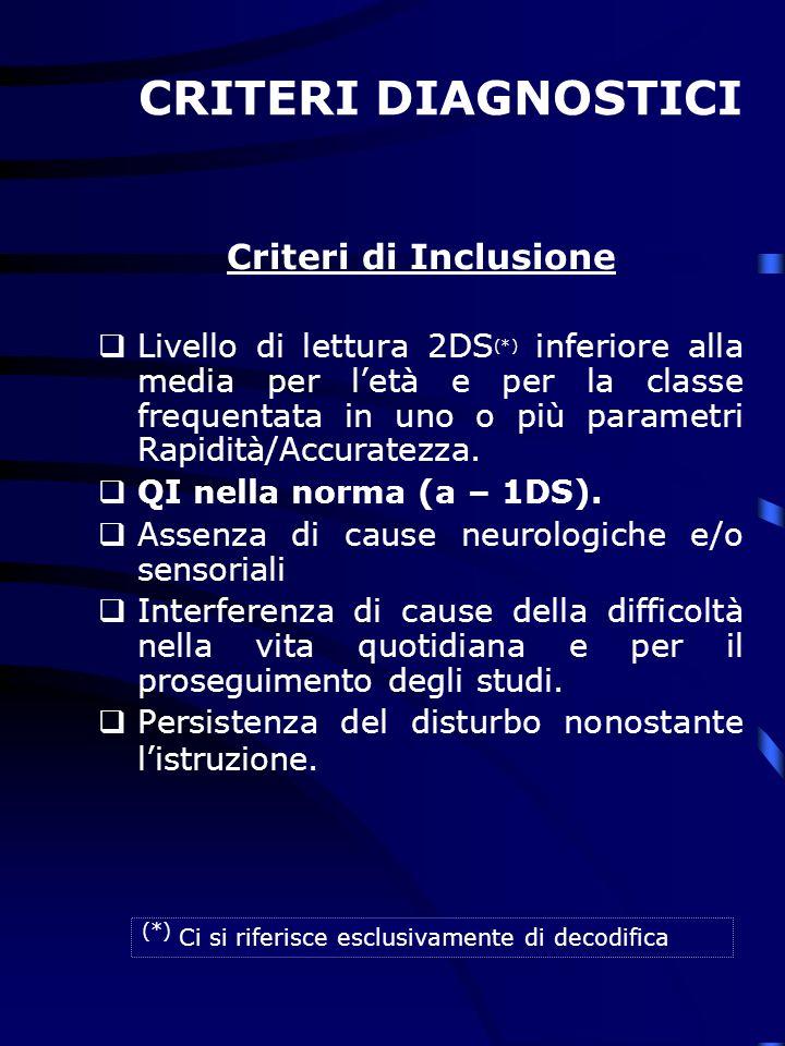 CRITERI DIAGNOSTICI Criteri di Inclusione Livello di lettura 2DS (*) inferiore alla media per letà e per la classe frequentata in uno o più parametri Rapidità/Accuratezza.