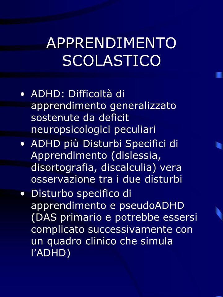 APPRENDIMENTO SCOLASTICO ADHD: Difficoltà di apprendimento generalizzato sostenute da deficit neuropsicologici peculiari ADHD più Disturbi Specifici di Apprendimento (dislessia, disortografia, discalculia) vera osservazione tra i due disturbi Disturbo specifico di apprendimento e pseudoADHD (DAS primario e potrebbe essersi complicato successivamente con un quadro clinico che simula lADHD)