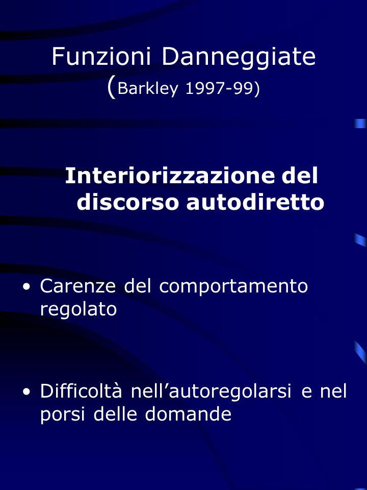 Funzioni Danneggiate ( Barkley 1997-99) Interiorizzazione del discorso autodiretto Carenze del comportamento regolato Difficoltà nellautoregolarsi e nel porsi delle domande