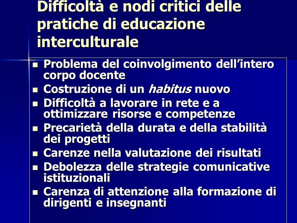 Difficoltà e nodi critici delle pratiche di educazione interculturale Problema del coinvolgimento dellintero corpo docente Problema del coinvolgimento