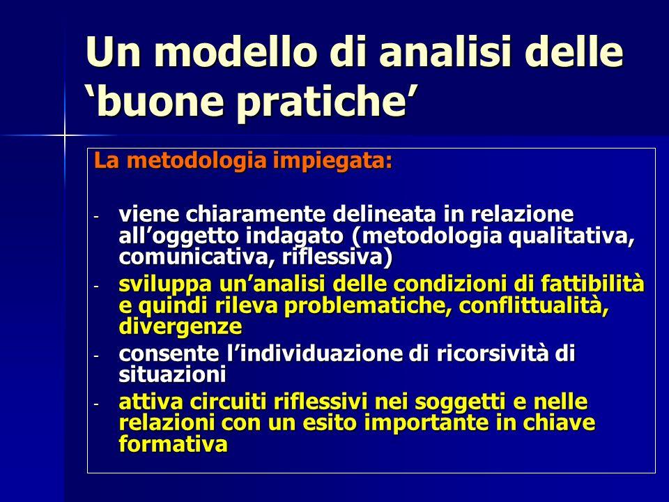 Un modello di analisi delle buone pratiche La metodologia impiegata: - viene chiaramente delineata in relazione alloggetto indagato (metodologia quali