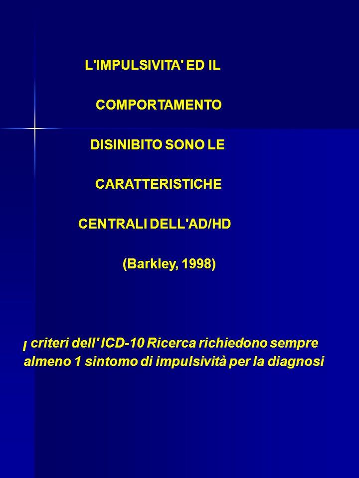 L IMPULSIVITA ED IL COMPORTAMENTO DISINIBITO SONO LE CARATTERISTICHE CENTRALI DELL AD/HD (Barkley, 1998) I criteri dell ICD-10 Ricerca richiedono sempre almeno 1 sintomo di impulsività per la diagnosi