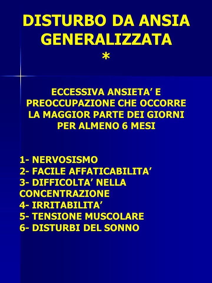 DISTURBO DA ANSIA GENERALIZZATA * ECCESSIVA ANSIETA E PREOCCUPAZIONE CHE OCCORRE LA MAGGIOR PARTE DEI GIORNI PER ALMENO 6 MESI 1- NERVOSISMO 2- FACILE AFFATICABILITA 3- DIFFICOLTA NELLA CONCENTRAZIONE 4- IRRITABILITA 5- TENSIONE MUSCOLARE 6- DISTURBI DEL SONNO