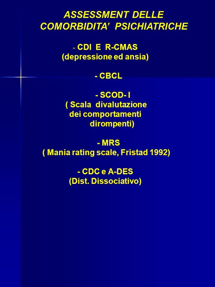ASSESSMENT DELLE COMORBIDITA PSICHIATRICHE - CDI E R-CMAS (depressione ed ansia) - CBCL - SCOD- I ( Scala divalutazione dei comportamenti dirompenti) - MRS ( Mania rating scale, Fristad 1992) - CDC e A-DES (Dist.