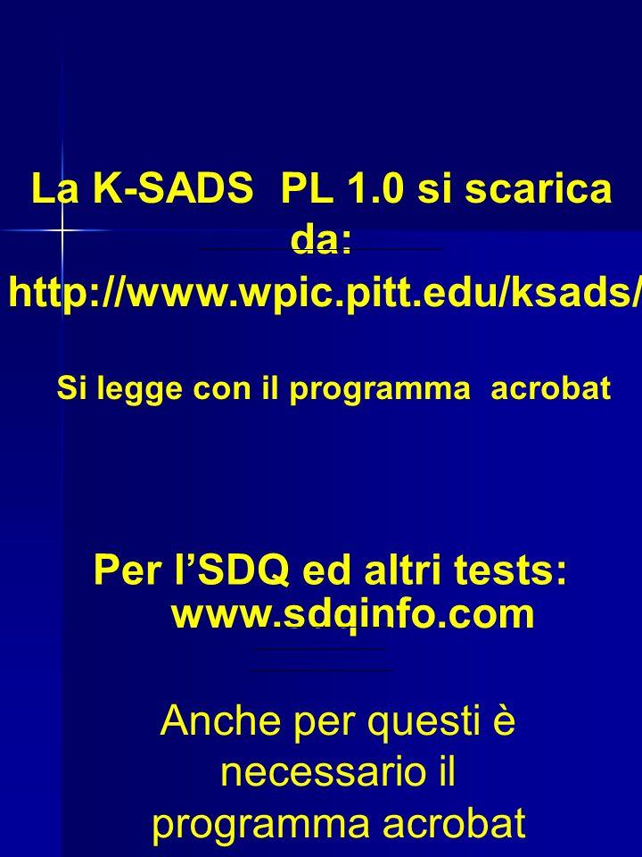La K-SADS PL 1.0 si scarica da: http://www.wpic.pitt.edu/ksads/ Si legge con il programma acrobat Per lSDQ ed altri tests: www.sdqinfo.com Anche per questi è necessario il programma acrobat
