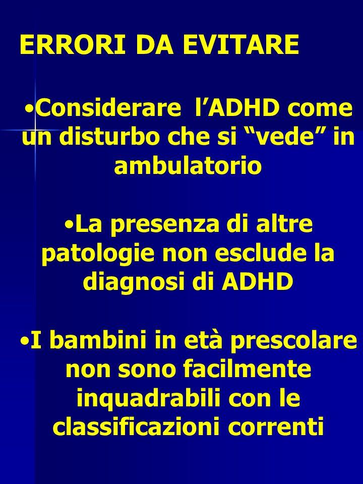 ERRORI DA EVITARE Considerare lADHD come un disturbo che si vede in ambulatorio La presenza di altre patologie non esclude la diagnosi di ADHD I bambini in età prescolare non sono facilmente inquadrabili con le classificazioni correnti