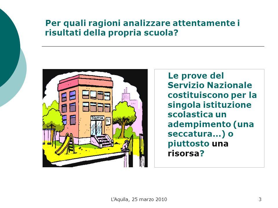 L Aquila, 25 marzo 20103 Per quali ragioni analizzare attentamente i risultati della propria scuola.