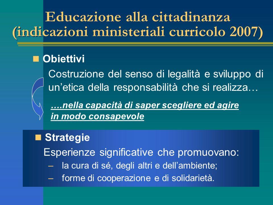 Educazione alla cittadinanza (indicazioni ministeriali curricolo 2007) Obiettivi Strategie Esperienze significative che promuovano: – la cura di sé, d