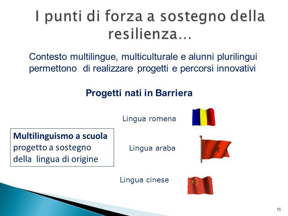 Contesto multilingue, multiculturale e alunni plurilingui permettono di realizzare progetti e percorsi innovativi Progetti nati in Barriera Multilingu