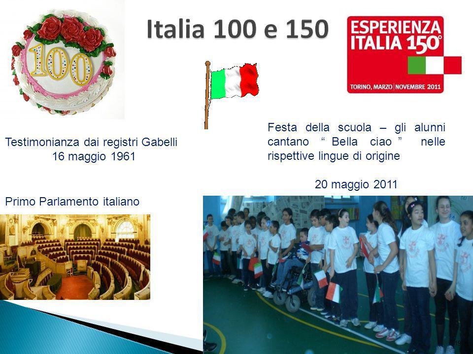 Primo Parlamento italiano Testimonianza dai registri Gabelli 16 maggio 1961 Festa della scuola – gli alunni cantano Bella ciao nelle rispettive lingue