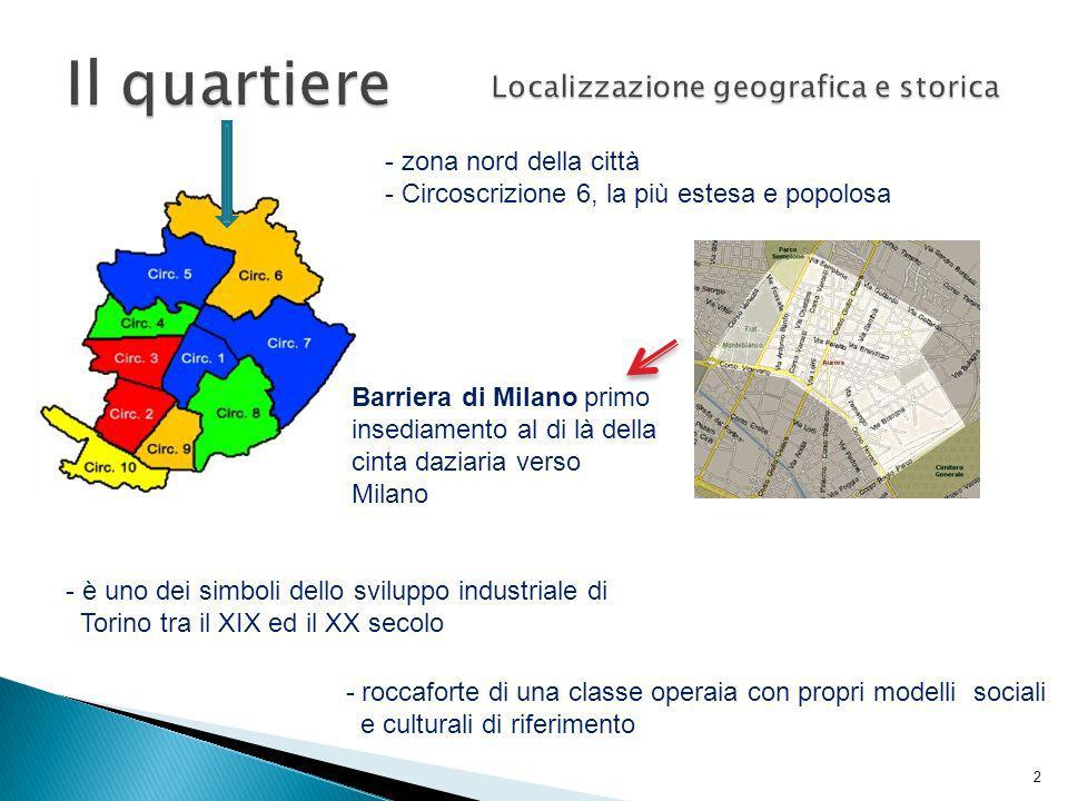 - zona nord della città - Circoscrizione 6, la più estesa e popolosa Barriera di Milano primo insediamento al di là della cinta daziaria verso Milano