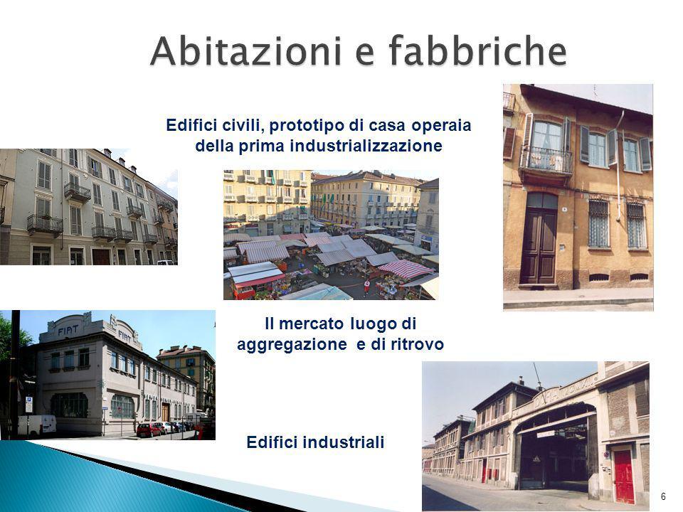 Edifici civili, prototipo di casa operaia della prima industrializzazione Edifici industriali Il mercato luogo di aggregazione e di ritrovo 6