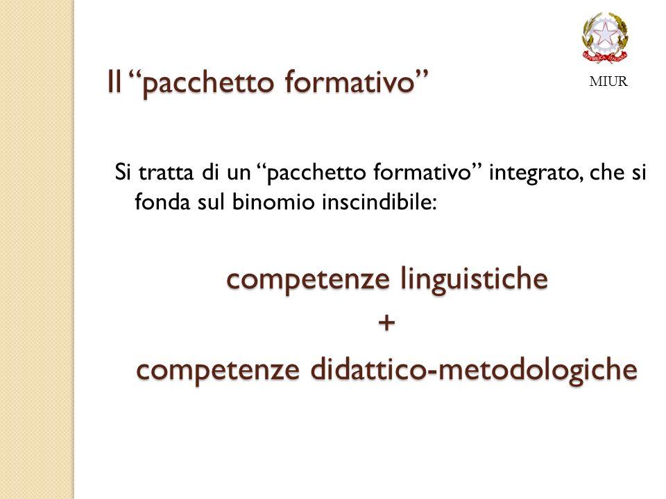 Il pacchetto formativo Si tratta di un pacchetto formativo integrato, che si fonda sul binomio inscindibile: competenze linguistiche + competenze didattico-metodologiche MIUR