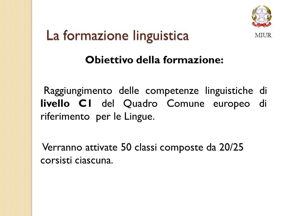 La formazione linguistica Obiettivo della formazione: Raggiungimento delle competenze linguistiche di livello C1 del Quadro Comune europeo di riferimento per le Lingue.
